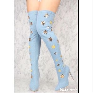 Shoes - 1 Day Sale❗️Thigh High Super Star Light Jean boot✨